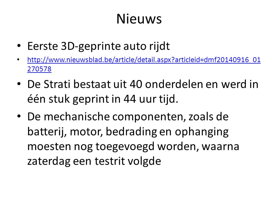 Nieuws Eerste 3D-geprinte auto rijdt