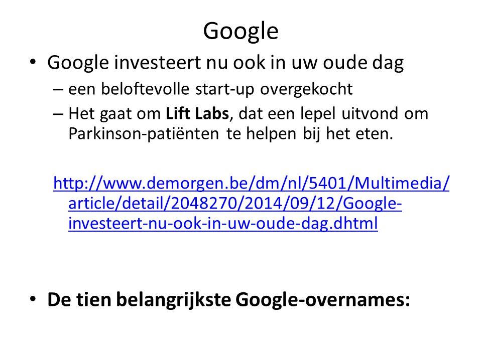 Google Google investeert nu ook in uw oude dag