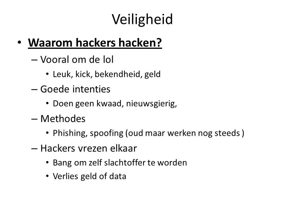 Veiligheid Waarom hackers hacken Vooral om de lol Goede intenties