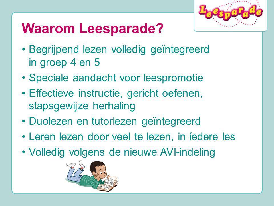 Waarom Leesparade Begrijpend lezen volledig geïntegreerd in groep 4 en 5. Speciale aandacht voor leespromotie.