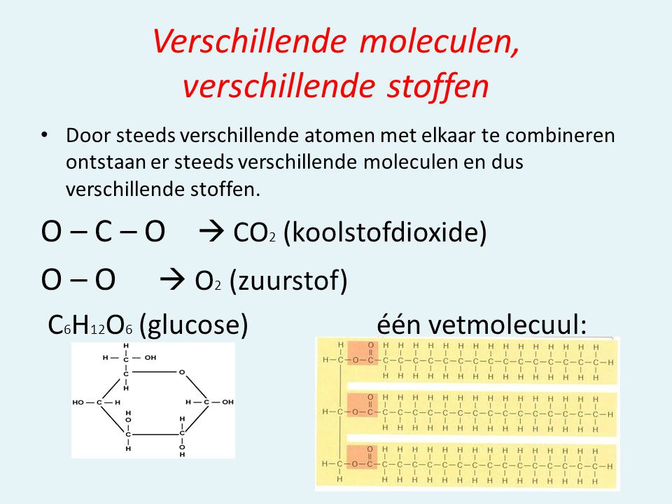 Verschillende moleculen, verschillende stoffen