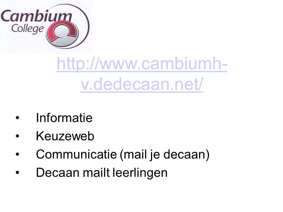 http://www.cambiumh-v.dedecaan.net/ Informatie Keuzeweb