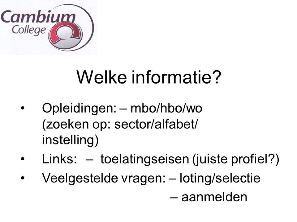 Welke informatie