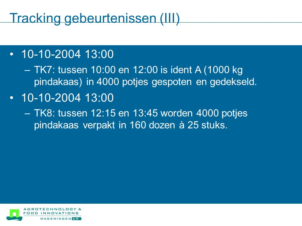 Tracking gebeurtenissen (III)