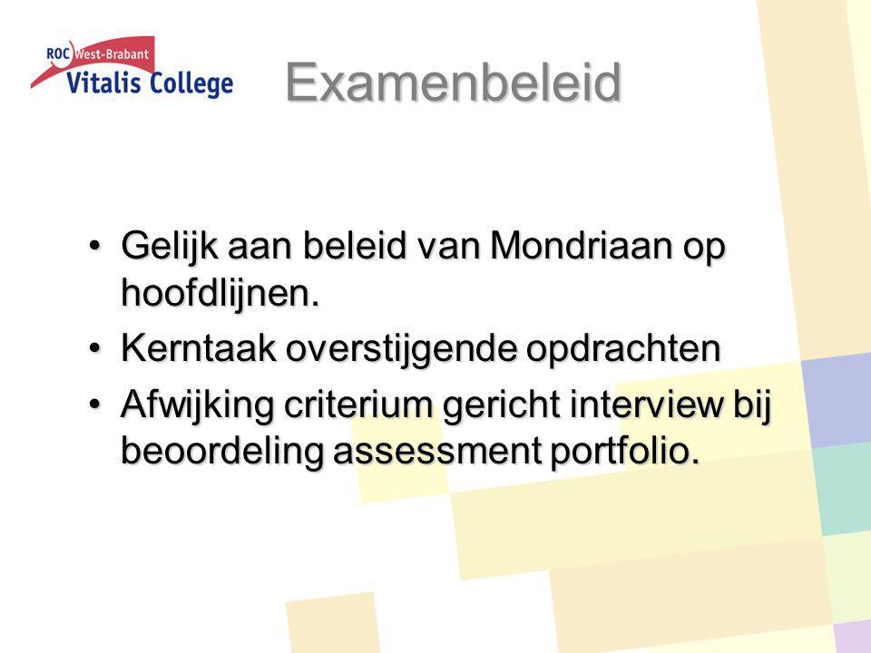 Examenbeleid Gelijk aan beleid van Mondriaan op hoofdlijnen.