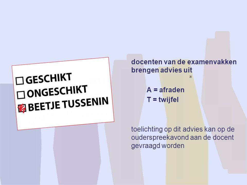 docenten van de examenvakken brengen advies uit