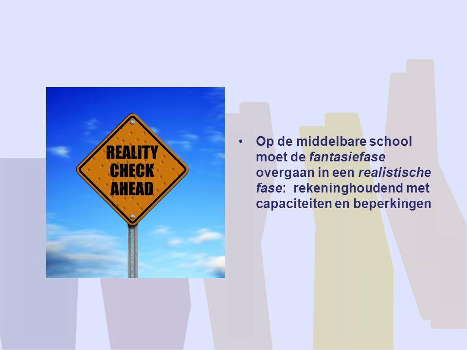 Op de middelbare school moet de fantasiefase overgaan in een realistische fase: rekeninghoudend met capaciteiten en beperkingen