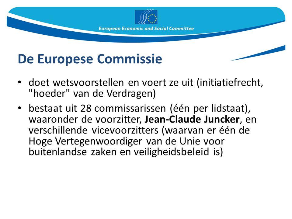 De Europese Commissie doet wetsvoorstellen en voert ze uit (initiatiefrecht, hoeder van de Verdragen)