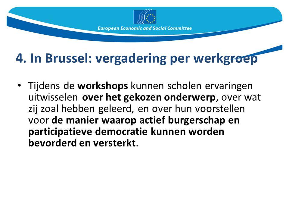 4. In Brussel: vergadering per werkgroep