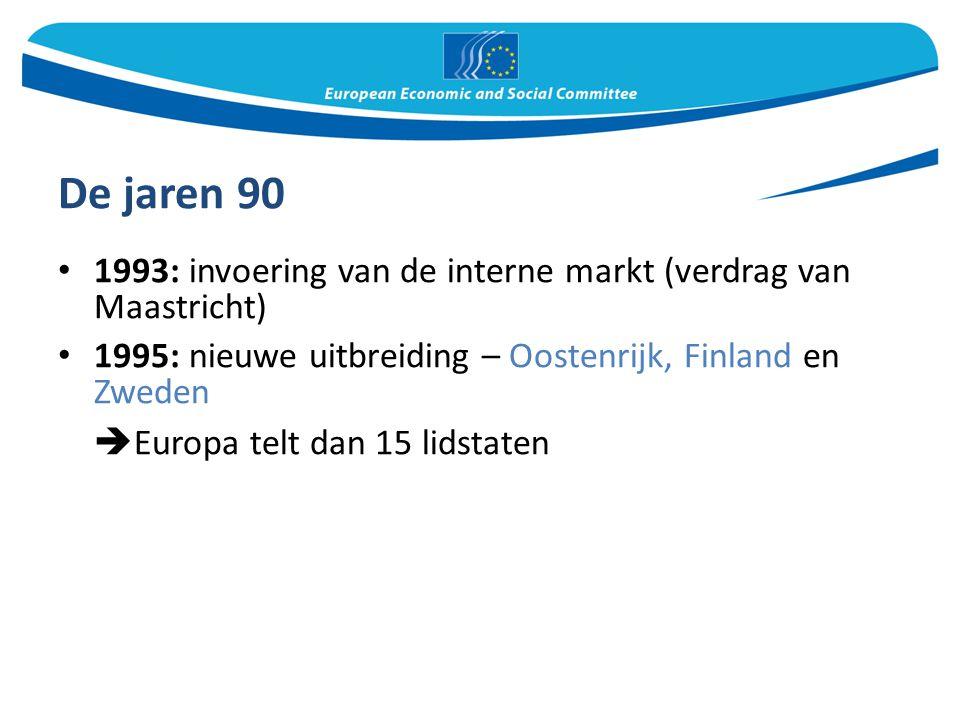 De jaren 90 Europa telt dan 15 lidstaten