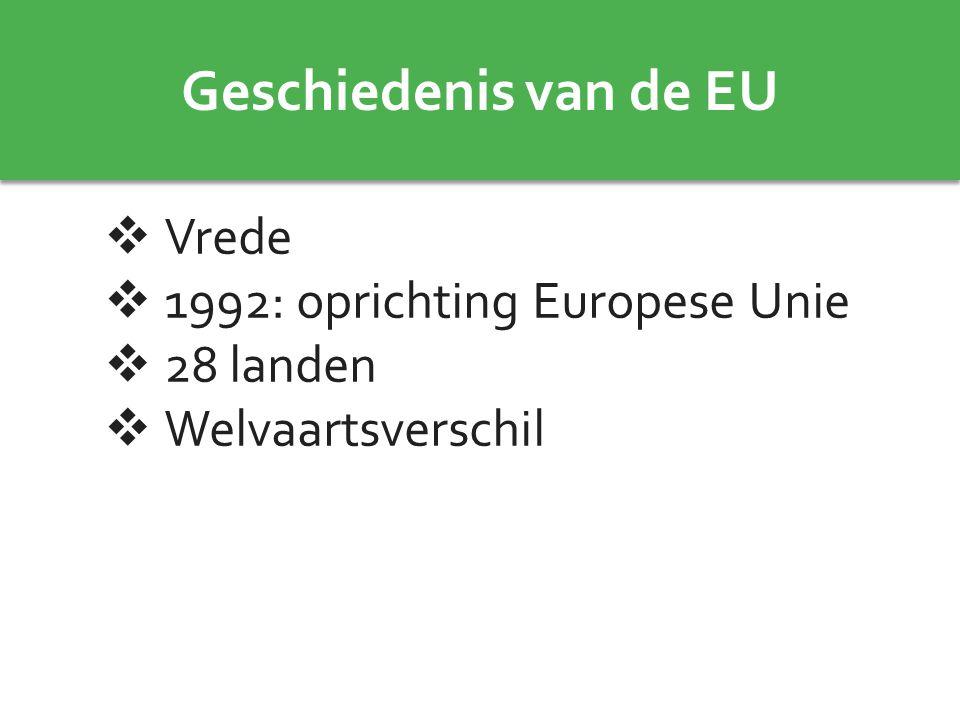 Geschiedenis van de EU Vrede 1992: oprichting Europese Unie 28 landen