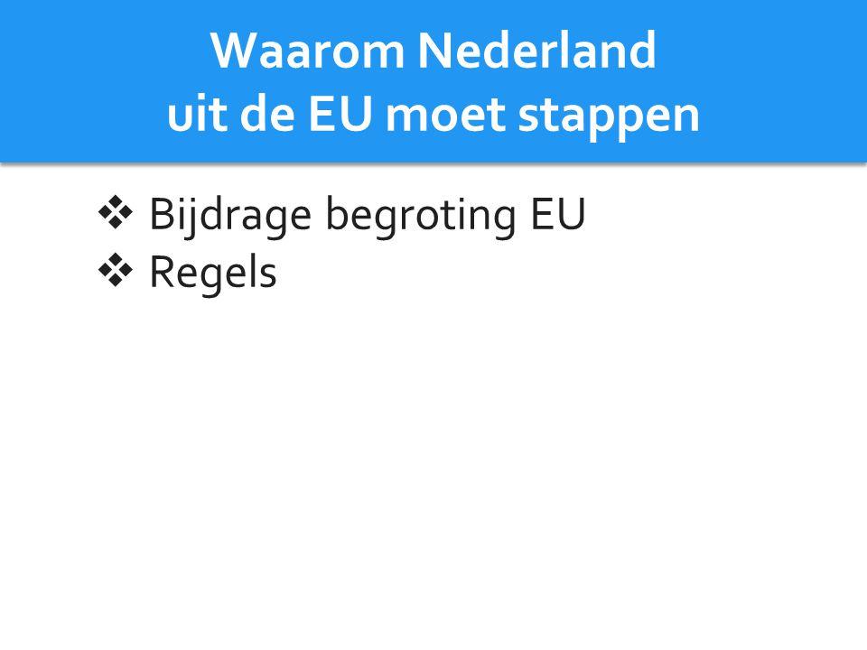 Waarom Nederland uit de EU moet stappen
