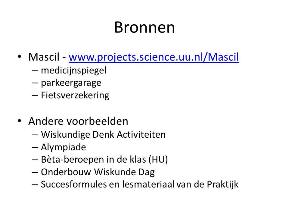 Bronnen Mascil - www.projects.science.uu.nl/Mascil Andere voorbeelden