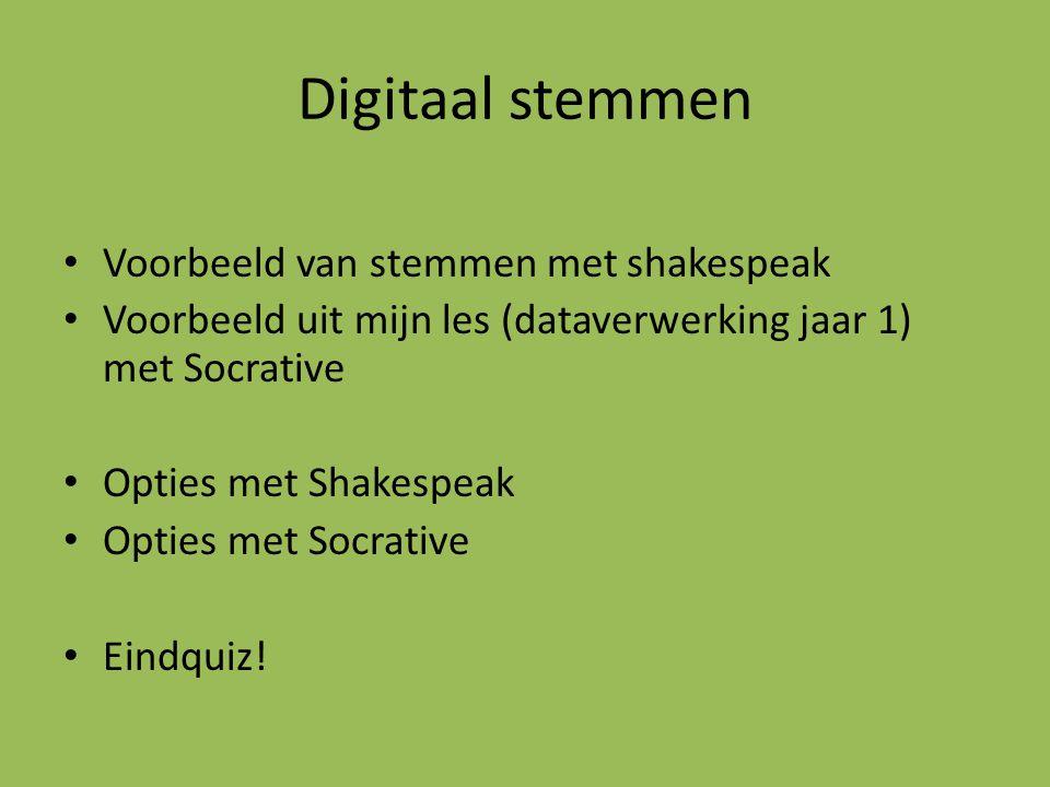 Digitaal stemmen Voorbeeld van stemmen met shakespeak