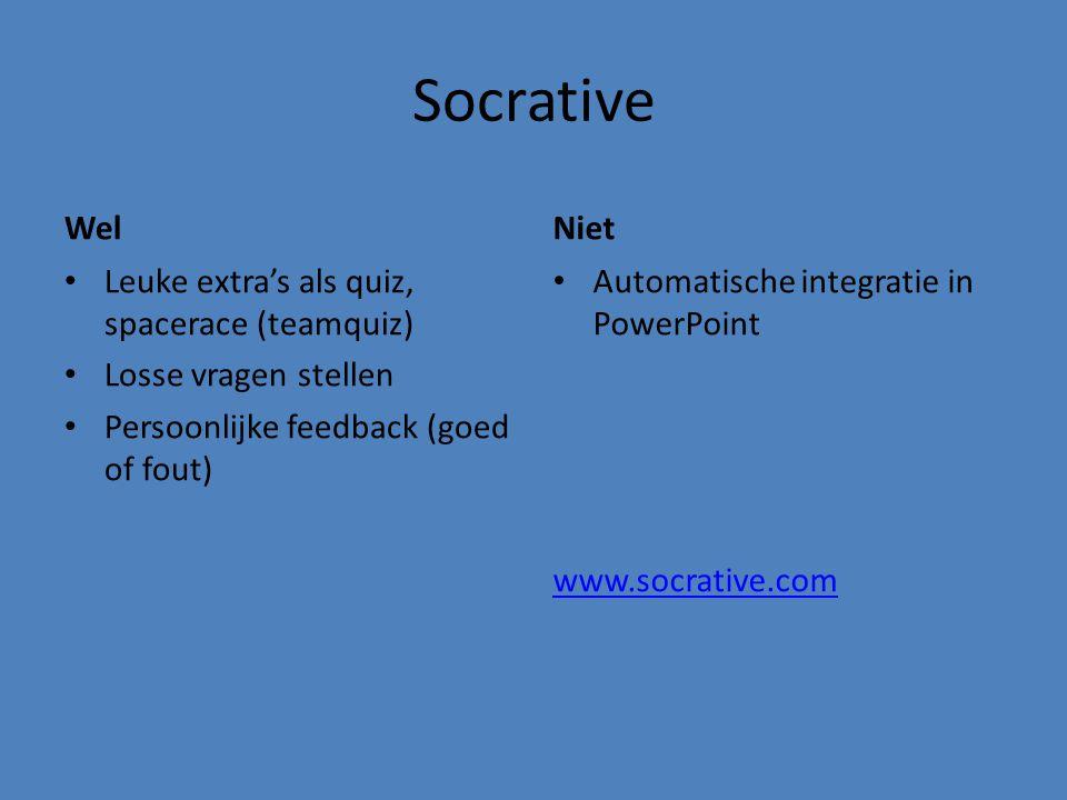 Socrative Wel Niet Leuke extra's als quiz, spacerace (teamquiz)