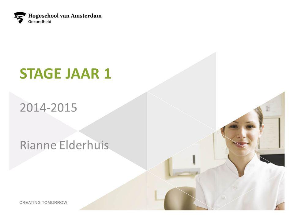 Stage jaar 1 2014-2015 Rianne Elderhuis