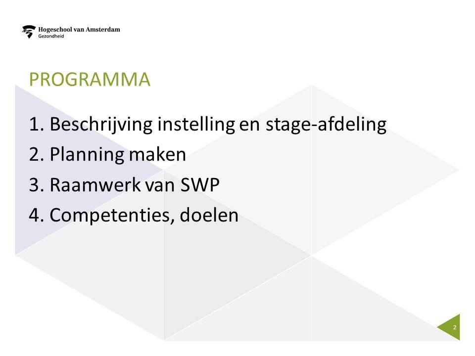 Programma 1. Beschrijving instelling en stage-afdeling 2.