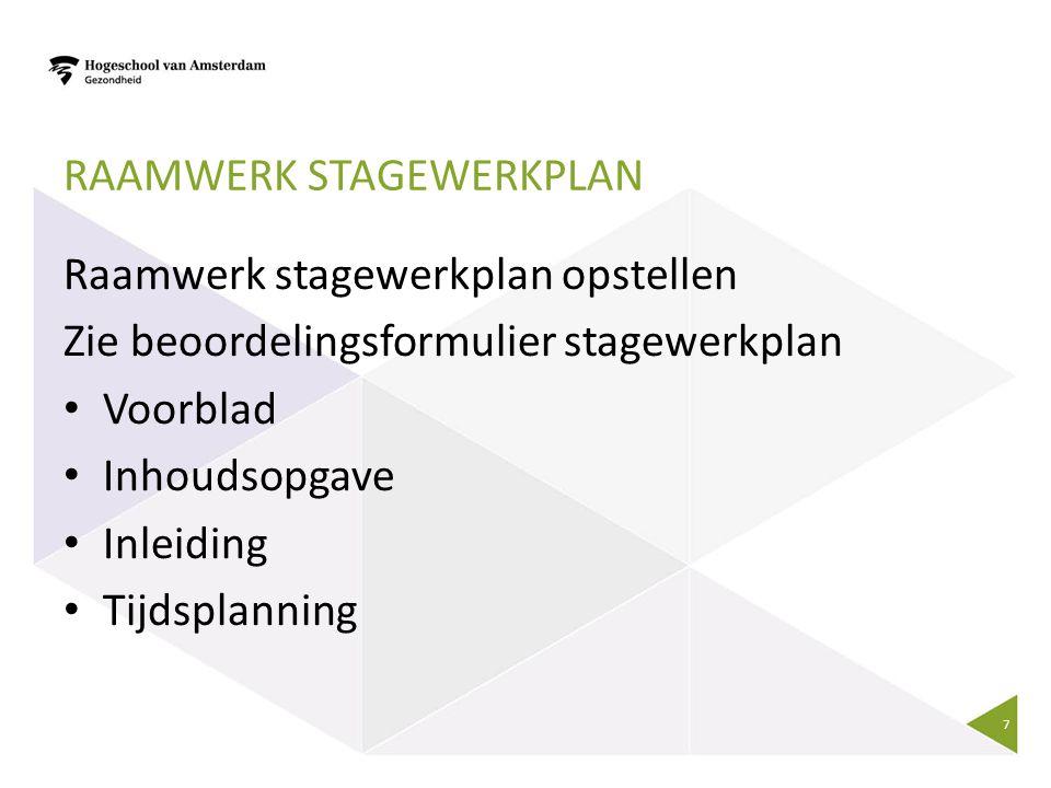Raamwerk Stagewerkplan