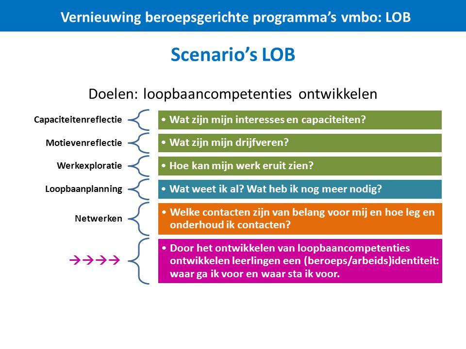 Scenario's LOB Doelen: loopbaancompetenties ontwikkelen