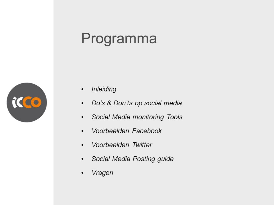 Programma Inleiding Do's & Don'ts op social media