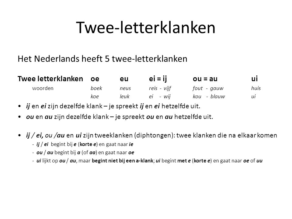 Twee-letterklanken Het Nederlands heeft 5 twee-letterklanken