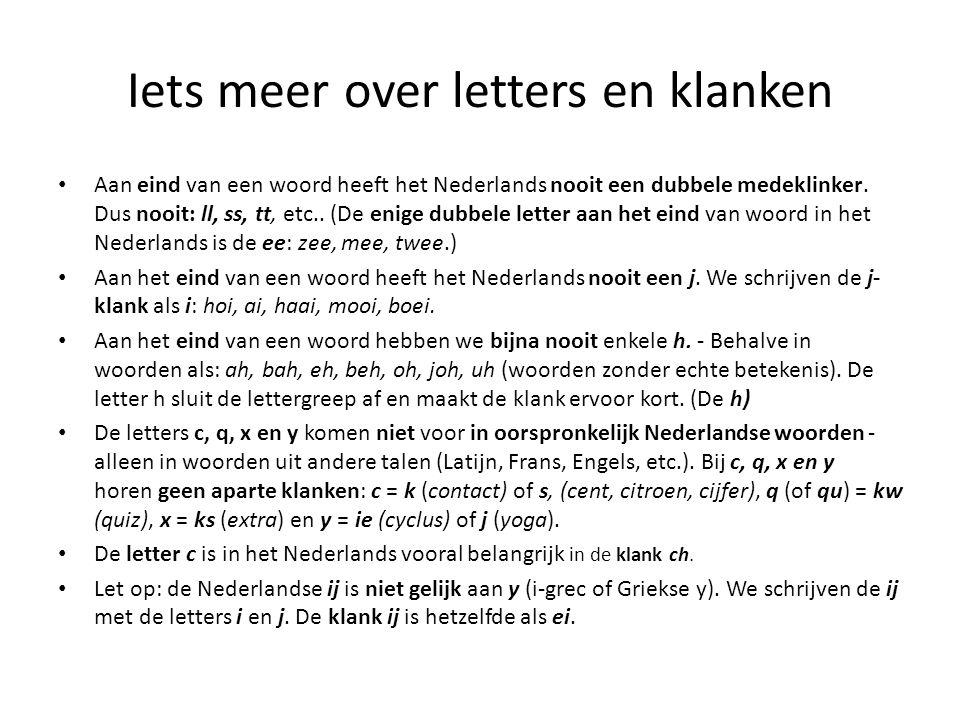 Iets meer over letters en klanken