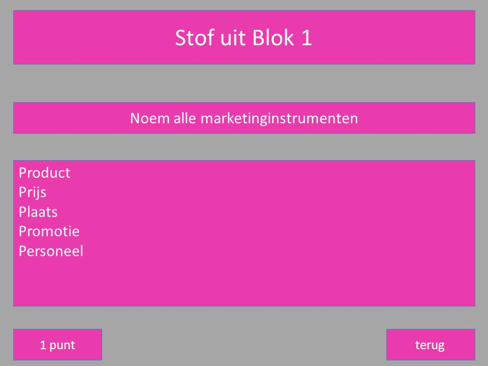 Noem alle marketinginstrumenten