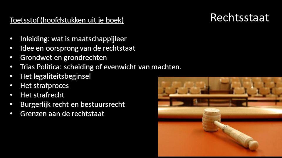 Rechtsstaat Toetsstof (hoofdstukken uit je boek)