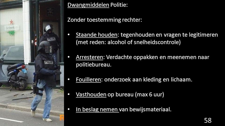Dwangmiddelen Politie: Zonder toestemming rechter: