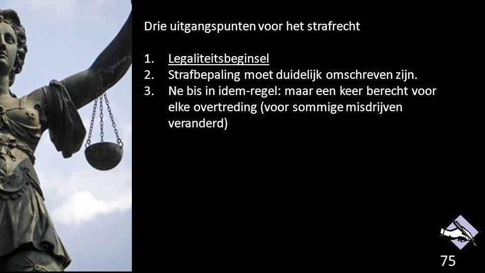 Drie uitgangspunten voor het strafrecht Legaliteitsbeginsel