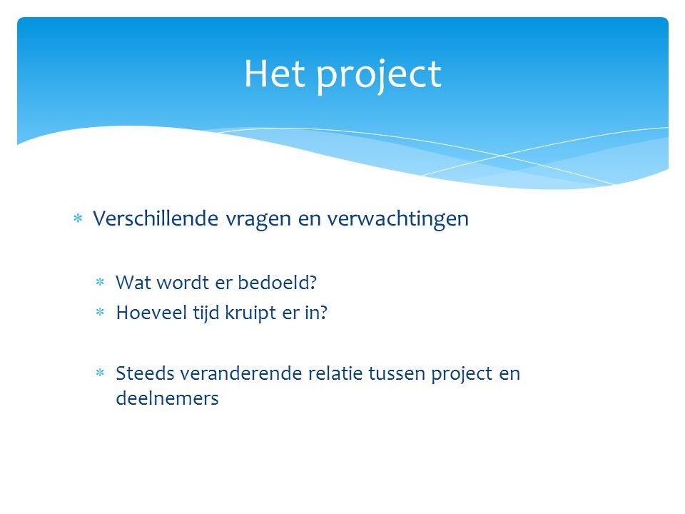 Het project Verschillende vragen en verwachtingen