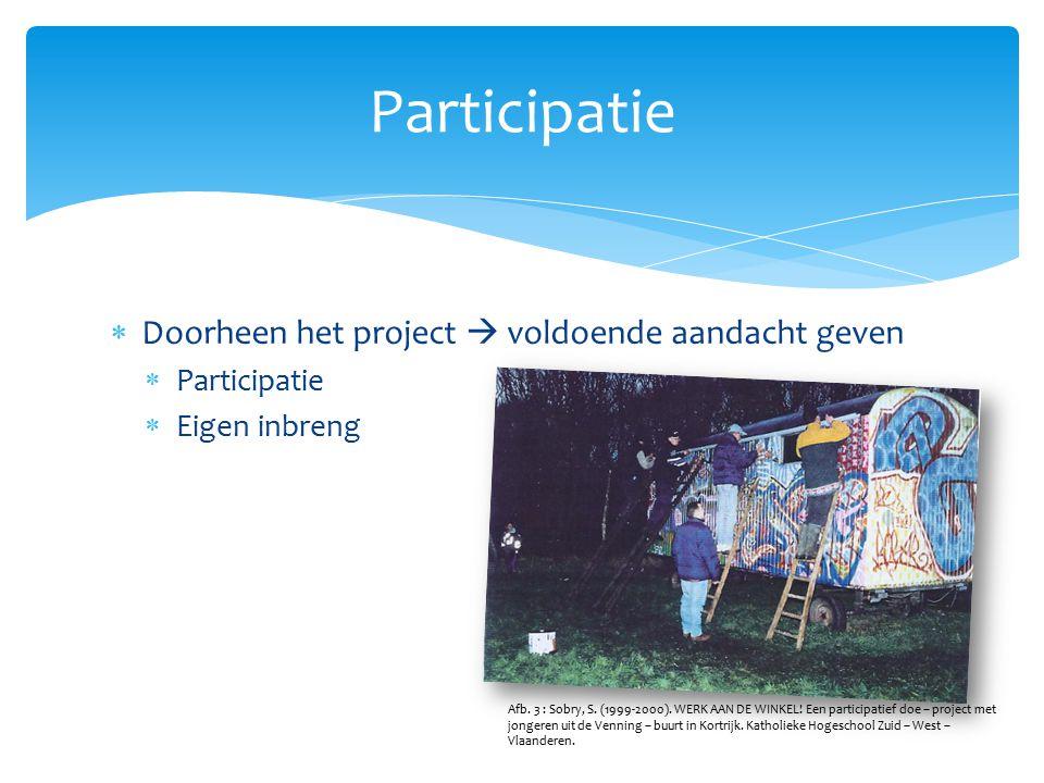 Participatie Doorheen het project  voldoende aandacht geven
