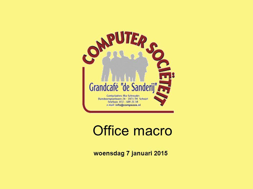 Office macro woensdag 7 januari 2015