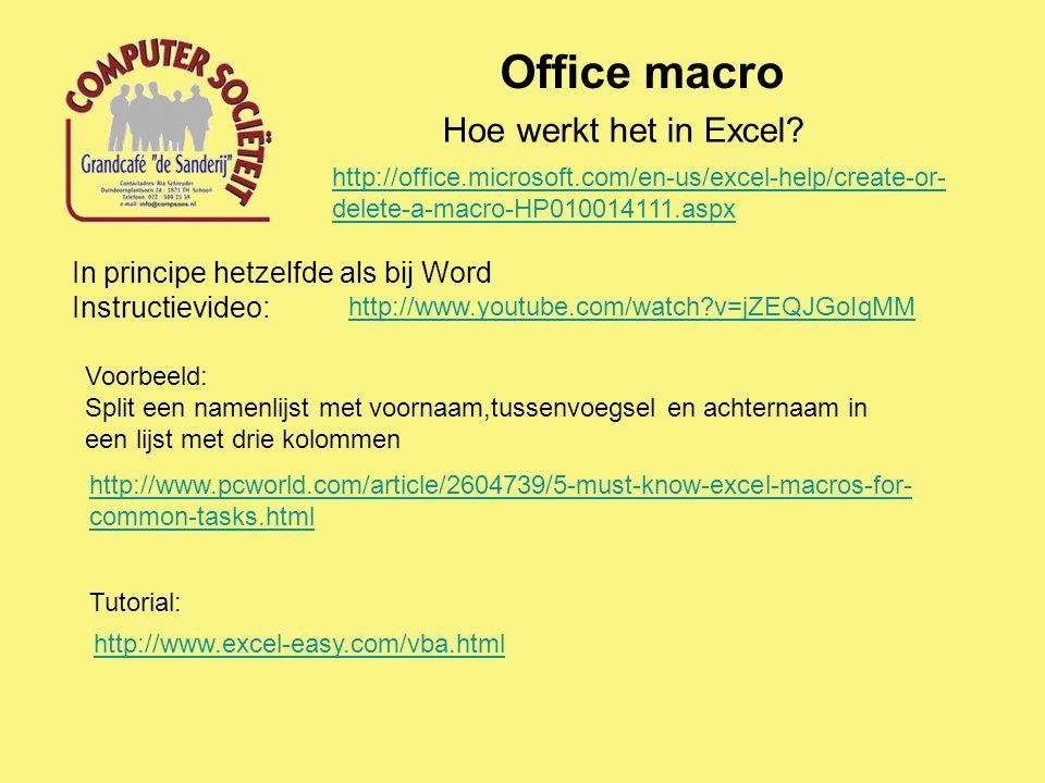 Office macro Hoe werkt het in Excel