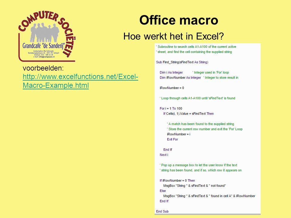 Office macro Hoe werkt het in Excel voorbeelden: