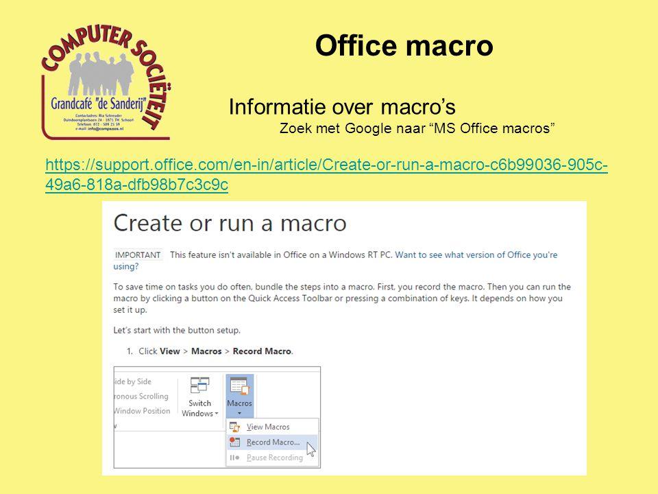 Office macro Informatie over macro's