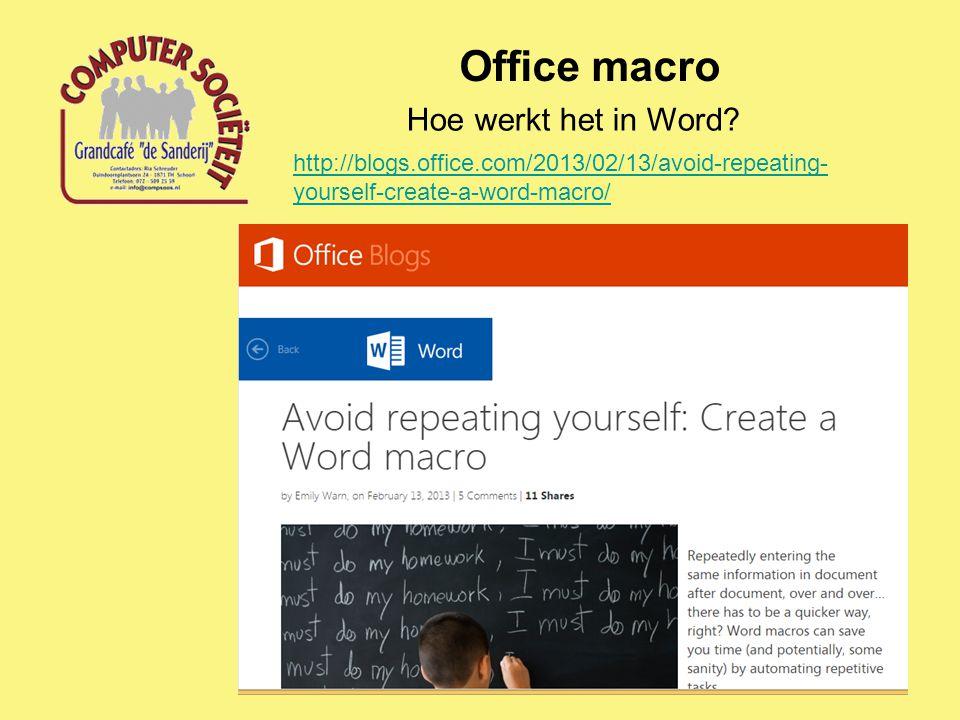 Office macro Hoe werkt het in Word