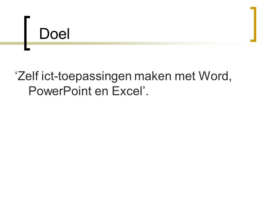 Doel 'Zelf ict-toepassingen maken met Word, PowerPoint en Excel'.