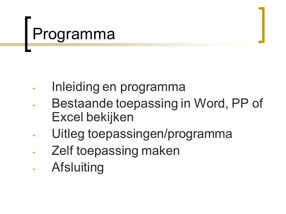 Programma Inleiding en programma