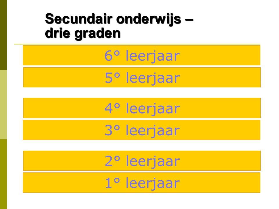 Secundair onderwijs – drie graden 6° leerjaar 5° leerjaar 4° leerjaar