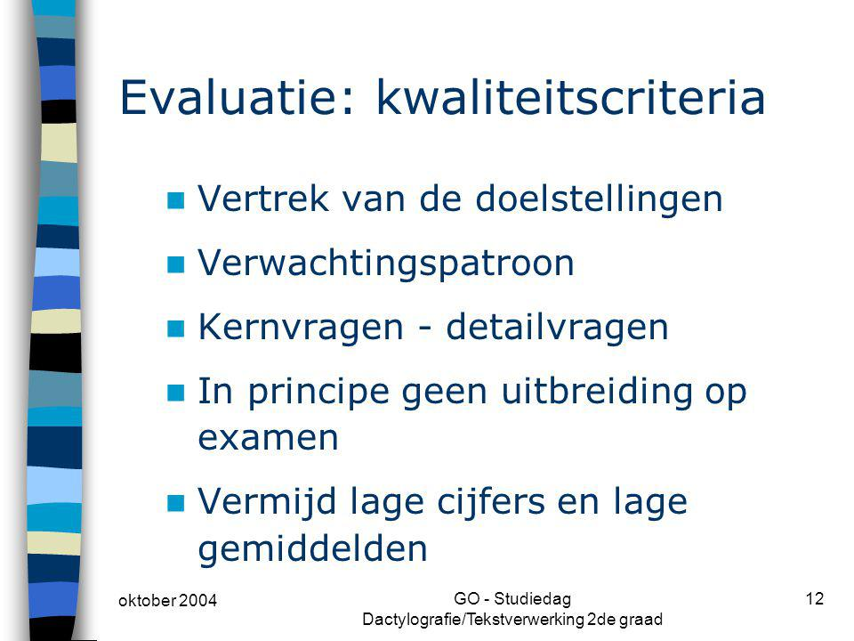 Evaluatie: kwaliteitscriteria