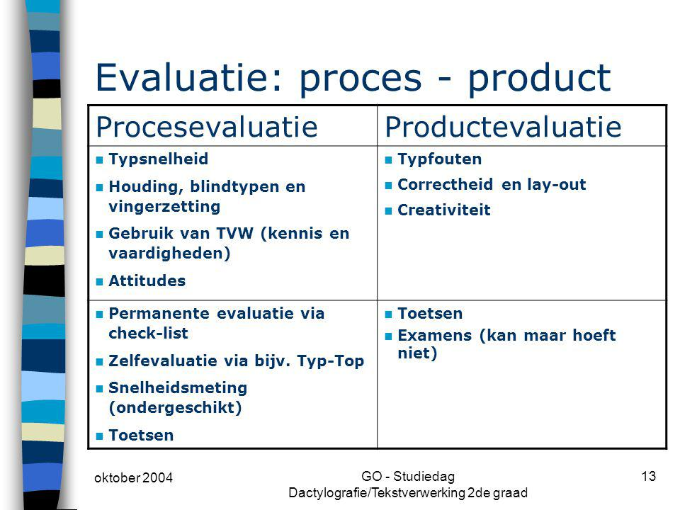 Evaluatie: proces - product