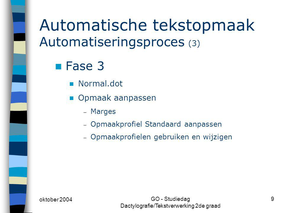Automatische tekstopmaak Automatiseringsproces (3)