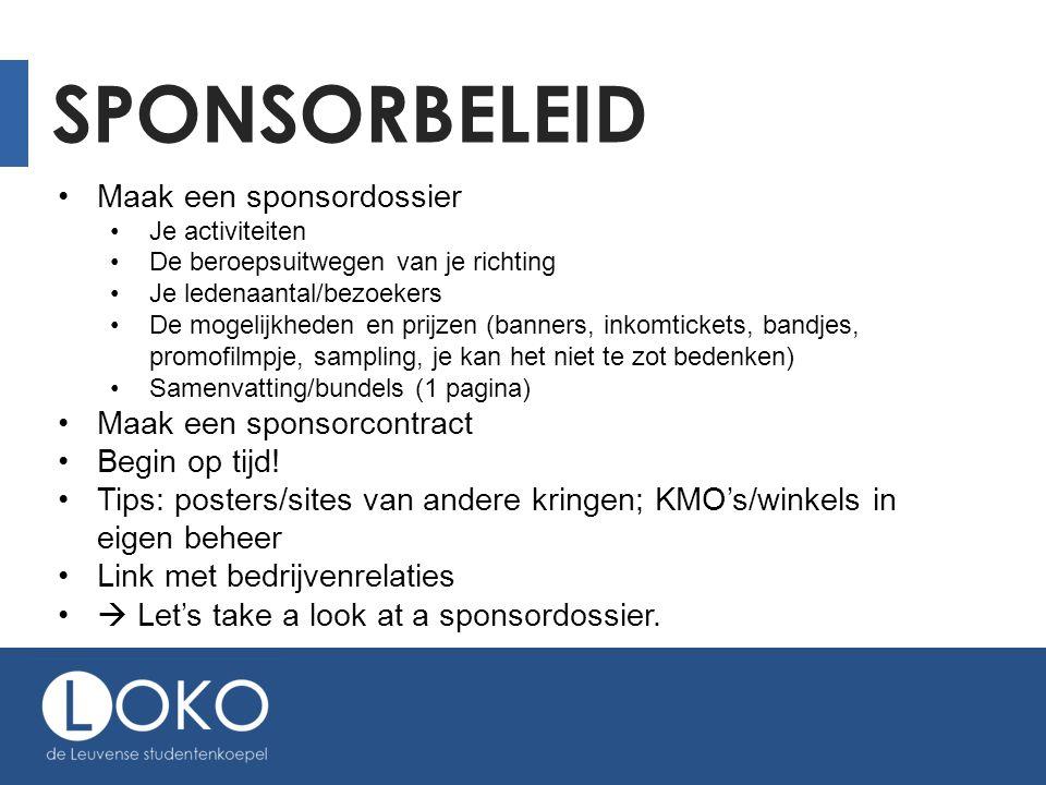 Sponsorbeleid Maak een sponsordossier Maak een sponsorcontract