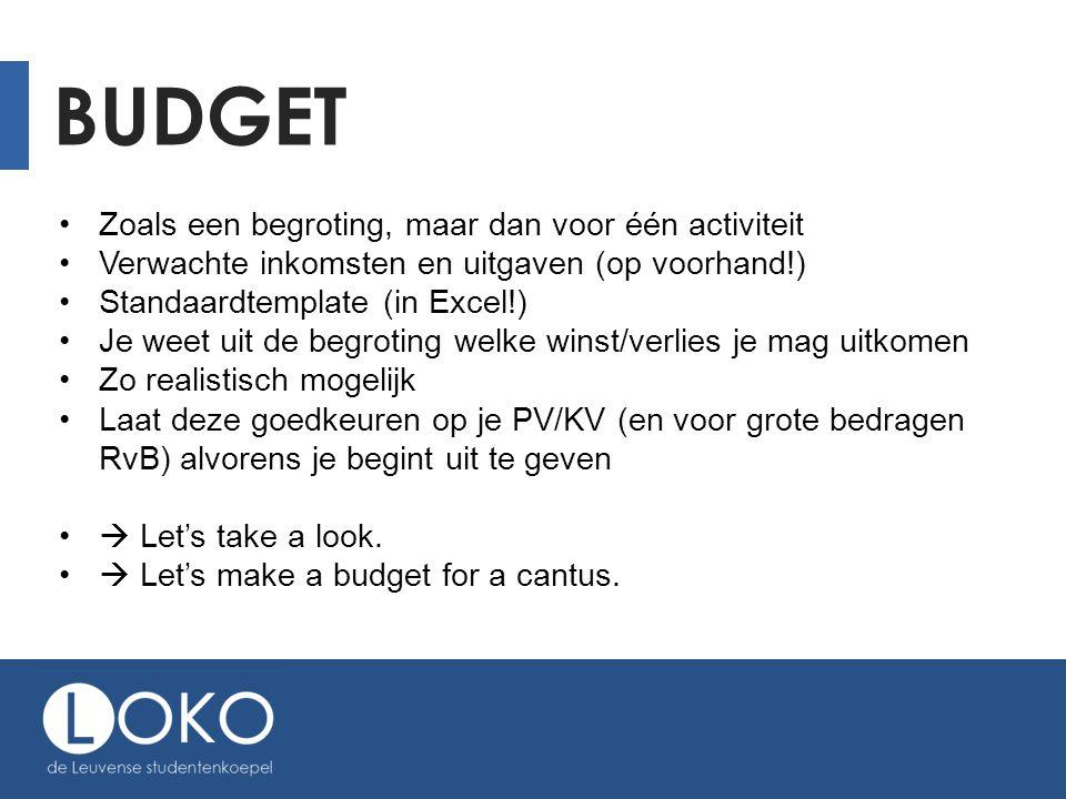 BUDGET Zoals een begroting, maar dan voor één activiteit