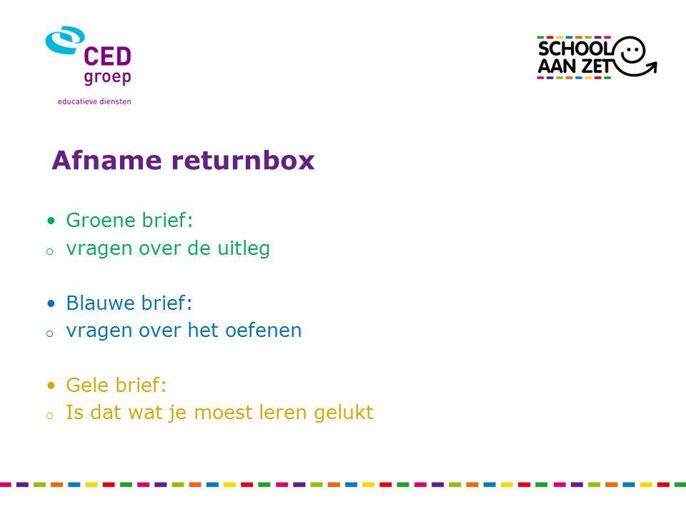 Afname returnbox Groene brief: vragen over de uitleg Blauwe brief: