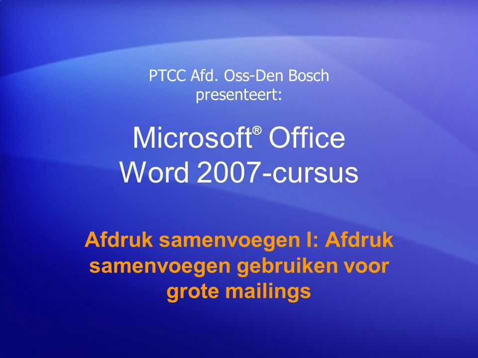 Microsoft® Office Word 2007-cursus