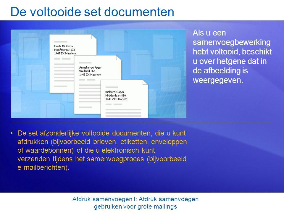 De voltooide set documenten