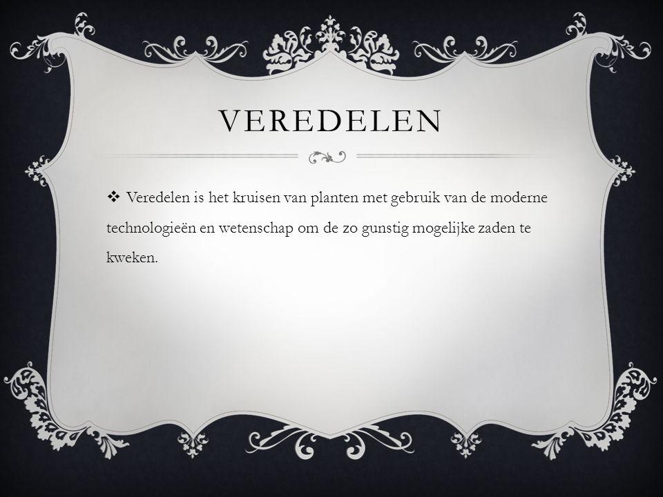 veredelen Veredelen is het kruisen van planten met gebruik van de moderne technologieën en wetenschap om de zo gunstig mogelijke zaden te kweken.