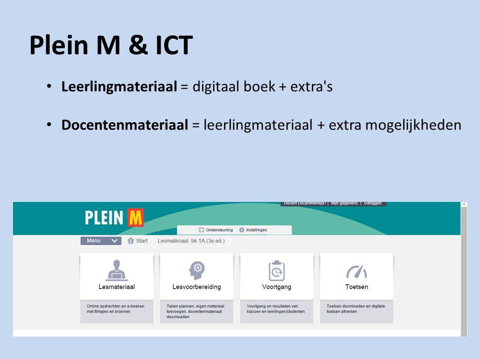Plein M & ICT Leerlingmateriaal = digitaal boek + extra s